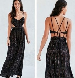 Long backless black tribal print dress